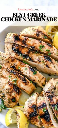 The Best Greek Chicken Marinade This easy chicken marinade infuses chicken of any cut with the classic Greek flavors of lemon garlic and oregano plus Greek yogurt for a more tender bite Chicken Marinade Recipes, Greek Chicken Recipes, Greek Yogurt Recipes, Chicken Tender Recipes, Greek Marinade For Chicken, Chicken Marinated In Yogurt Recipe, Recipes With Chicken Tenders, Lemon Garlic Chicken Marinade, Mediterranean Chicken Marinade