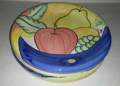 4 Bella Ceramica Alfresco Yellow Blue Apple Pear Grapes Fruit Dinner Plates #BellaCeramica