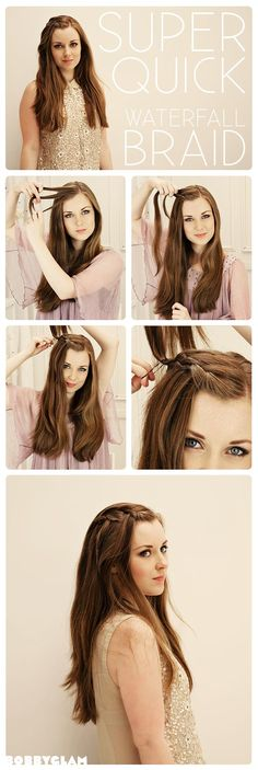 Super Quick Waterfall Braid Hair Tutorial, am soo going to use this