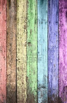 Aged Rainbow Painted Wooden Fence, Naturally Weathered Royalty Free ...