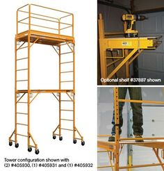A Complete Performance Package. This Metaltech multipurpose Baker-style rolling scaffold features rugged 1 square tube steel construction with a yellow poly powder-coat finish, double locking casters and a spring-loaded locking mechanism. Steel Frame Construction, Construction Tools, Metal Projects, Home Projects, Rolling Scaffold, Steel Framing, Hanging Drywall, Techno Gadgets, Washing Windows