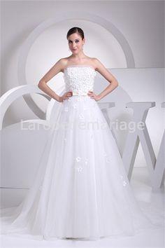 Robe de mariée magnifique agrémentée de fleurs en satin et gaze à traîne balai A-ligne € 175.99