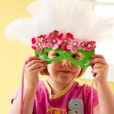 Oh for the love! Masks cut from fun foam then decorated with scrappy supplies!  LOVE!  Must do these with my girls this summer! FUN!