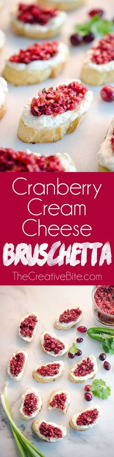 Cranberry Cream Cheese Bruschetta are a fresh and unique twist on the classic appetizer. Toasted french bread is topped with whipped cream cheese and a spicy cranberry salsa for an hors d'oeuvre perfe (Cheese Table Brunch)