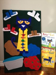 the cat flannel board. Can use to have children retell the story in order. Can also use for counting buttons.Pete the cat flannel board. Can use to have children retell the story in order. Can also use for counting buttons. Flannel Board Stories, Felt Board Stories, Felt Stories, Flannel Boards, Stories For Kids, Book Crafts, Felt Crafts, Pete The Cats, Cat Activity