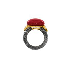 CORAL, BLACK RUTILATED QUARTZ AND DIAMOND RING Coral Ring, Rutilated Quartz, Gemstone Rings, Engagement Rings, Gemstones, Diamond, Black, Jewelry, Enagement Rings