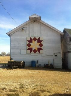 This is on a barn at one of my favorite places to be! Life's a Stitch Quilt Shop.
