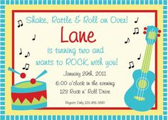 ideas music party invitations birthdays for 2019 Music Theme Birthday, Music Themed Parties, Music Party, First Birthday Parties, Birthday Party Themes, First Birthdays, Birthday Ideas, Baby Birthday, Birthday Design