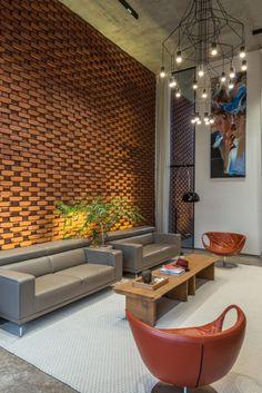 Brick facade house design work group - the architects diary. Brick Interior, Lobby Interior, Interior Architecture, Brick Cladding, Brick Facade, Shade House, Rustic Home Design, Lobby Design, Brick Design