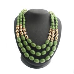 """Yellow Gold GP Triple Strand Green Faceted Bead and Crystal 22"""" Necklace N828 #Affinityfashionjewelry #StrandString"""
