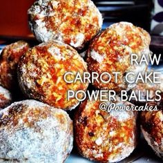Carrot Cake PowerBalls - raw carrot cake recipe with dates, carrots, nuts and coconut