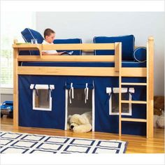 Bunk bed with play house underneath