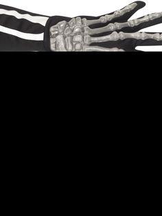 Luuranko-käsineet. Mustissa käsineissä on kuvattuna kämmenen ja sormien luut ja ne ovatkin varsin vakuuttavan näköiset.