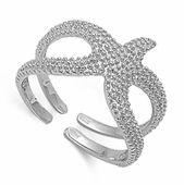 Sterling Silver Double Starfish Ring