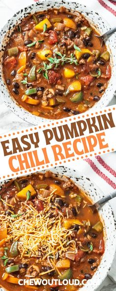 We season up this chili some a bit of pumpkin pie spice, which is essentially just a mixture of cinnamon, nutmeg, ginger, and allspice. Just a teaspoon imparts a wonderfully delicate autumn flavor, without coming off strong at all. You'll just have to trust us on this. #pumpkinchili #fallchili #chilirecipe #chili #fallsoups Pumpkin Chili, Pumpkin Pie Spice, Pumpkin Puree, Turkey Broth, Fire Roasted Tomatoes, Chili Recipes, Curry, Stuffed Peppers, Cooking