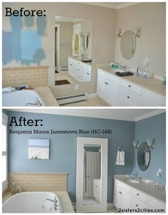 Master Bathroom Paint Color Reveal- Jamestown Blue| 2 Sisters 2 Cities