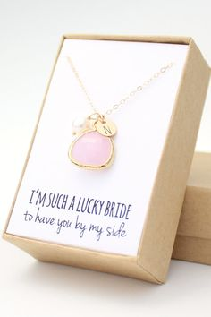 Blush Pink / Gold Bezel Charm Necklace  Blush Pink by ForTheMaids