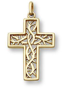 Crown of Thorns Cross Pendant, 14K Yellow Gold