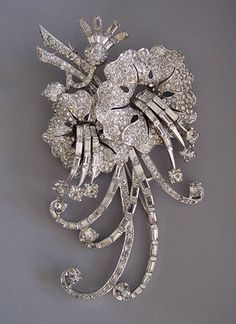 "MB Boucher clear rhinestones flower pin, 4-1/8""."