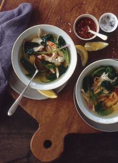 Poached Chicken Soup with Lemon and Spinach