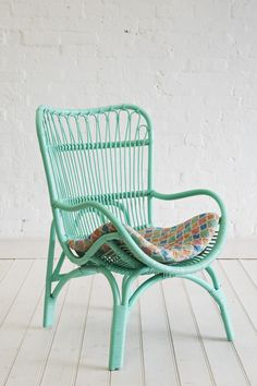 Rattan Slouch Chair Mint - The Family Love Tree