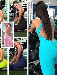 Women's Workout Jumpsuit Open Back Removable Pad Bubble White Black Red Burgundy Pink Zumba Yoga Gym Workout Tights Leggings Romper Sleeveless Sport Activewear Comfort Quick Dry Tummy Control Soft Sports Leggings, Tight Leggings, Yoga Pants With Pockets, Fitted Jumpsuit, Yoga Fitness, Yoga Gym, Sport Pants, Long Sleeve Crop Top, Workout Leggings