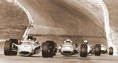 1968 Brands Hatch Race of Champions. Graham Hill Lotus 49 Cosworth,  Chris Amon Ferrari 312.  Denny Hulme McLaren M7A Cosworth  Jacky Ickx Ferrari 312