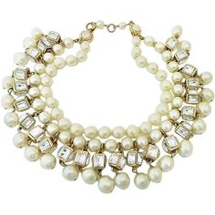 Preowned Vintage Signed Chanel 23 Multi-strand Faux Pearl Necklace ($5,000) ❤ liked on Polyvore featuring jewelry, necklaces, 1stdibs, chanel, beige, multi-chain necklaces, imitation pearl necklace, vintage jewellery, multi row necklace and multi-strand necklace