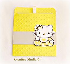 Handmade Pull - out Invitation Baby Hello Kitty -  Baby Shower Invitation Card Announcement Birthday. $2.30, via Etsy.