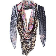 Guess Square Scarf ($41) ❤ liked on Polyvore featuring accessories, scarves, black, floral shawl, floral print scarves, logo scarves, square shawl and floral scarves