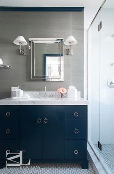 most popular cabinet paint colors | navy bathroom