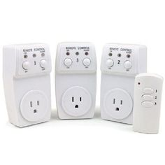 This wireless remote control plugs directly into standard wall outlet and operates three wall outlets through doors and walls up to 60 feet. Just plug in table lamps floor lamps or small appliances.