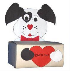 Valentine's Dog Box - Template found at http://www.dltk-holidays.com/p.asp?b=m&p=http://www.dltk-holidays.com/valentines/pdogbox.asp