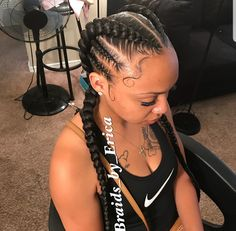 Two Braids Hairstyles for African Women To Try In Summer Nights - Eazy Vibe Zwei Zöpfe Frisu Feed In Braids Hairstyles, Black Girl Braided Hairstyles, Cool Hairstyles, 2 Feed In Braids, Two Braids Hairstyle Black Women, 2 Braids With Weave, Weave Hairstyles, Natural Cornrow Hairstyles, Natural Black Hair