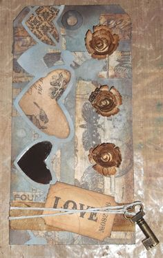 My Tak on Tim Holtz 12 Tags of 2014 - April featuring Distress Paint, Tissue Tape etc
