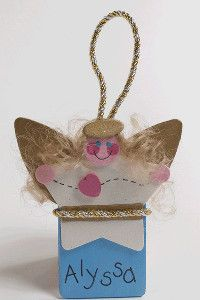 What a precious homemade Christmas ornament! Angel crafts are just perfect for this time of year.