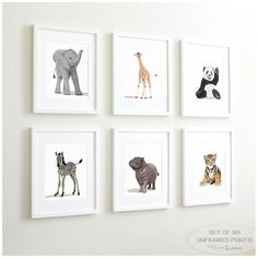 Baby Animal Nursery Art Prints,  modern minimalist nursery decor, - set of six unframed prints - zoo animal, jungle animal childrens art