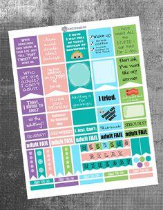 PRINTABLE-Adulting Stickers (Planner Printables, EC, Plum Paper, Erin Condren)