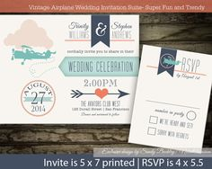 Vintage Plane Wedding Invitations DIY printable by NotedOccasions, $50.00