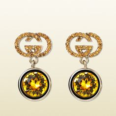Gucci Earrings with Sunflower Crystal and Topaz