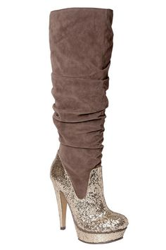 Michael Antonio Barstow Velvet Knee High Boots In Taupe
