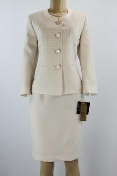 Caslon Womens Cream Ivory Stone Jacket Blazer Skirt Suit Sz 2 4 6 ...