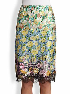 Nina Ricci Lace-Trimmed Floral Silk Skirt