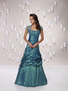 A-line taffeta short sleeve bridesmaid gown,$165.80. I love this! It would be beautiful is ice blue or purple!!