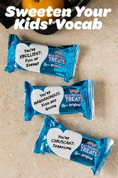 Let your sweet little ones know how much they mean to you while also teaching them a thing or two! Rice Krispies Treats offer the perfect space to write a caring message, or teach a valuable lesson. Your child's favorite snack can become a delicious and entertaining flashcard when you write a simple definition on the wrapper.
