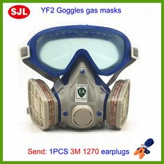 SJL Gas mask with glasses full face protective mask paint chemical masks activated carbon fire escape breathing apparatus Chemical Mask, Mask Painting, Respirator Mask, Respiration, Workplace Safety, Protective Mask, Carbon Filter, Full Face, Free Shipping