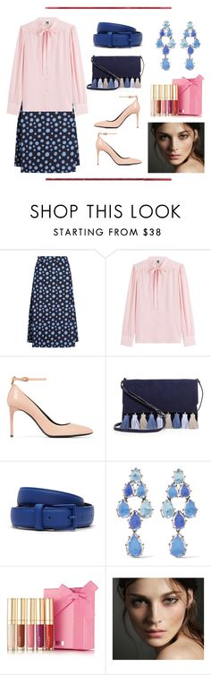 """Tie Neck Blouse & Midi Skirt"" by dana-debanks ❤ liked on Polyvore featuring House of Holland, M Missoni, Tom Ford, Rebecca Minkoff, Lacoste, Larkspur & Hawk, By Terry and Burberry"