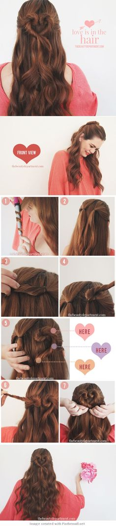 Love is in the Hair - Heart Shaped Bun Tutorial Pretty Hairstyles, Girl Hairstyles, Braided Hairstyles, Hair Day, Hair Designs, Hair Hacks, Hair Inspiration, Curly Hair Styles, Hair Makeup