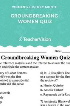 See how much your students know about famous firsts in women's history. This printable multiple-choice quiz includes ten questions about the history of women in politics, space flight, aviation, science, and the military. Womens Month, Multiple Choice, Women's History, Educational Videos, Famous Women, Lesson Plans, Aviation, Literature, Students