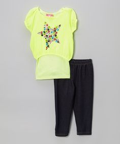Love this Yellow Chiffon Stars Tunic & Leggings - Infant, Toddler & Girls on #zulily! #zulilyfinds